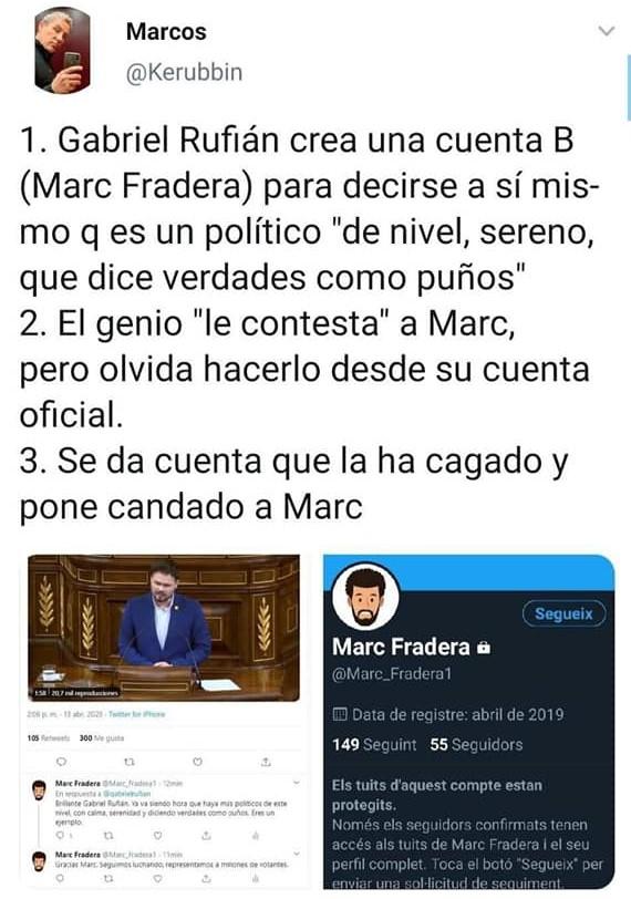Gabrielín contesta a su doble, Marc Fradera, desde la misma cuenta de su otra personalidad