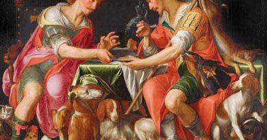 Lienzo de Wtewael. Jacob y Esau, la primogenitura por un platoi de lentejas