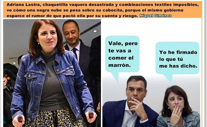 Moncloa culpa a Adriana Lastra de firmar el acuerdo con Bildu sin consultar.