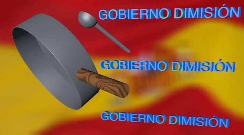 Gobierno dimisión: Que suenen las cacerolas, todos los días al grito de Sánchez váyase. Ilustración del autor Rodolfo Arévalo