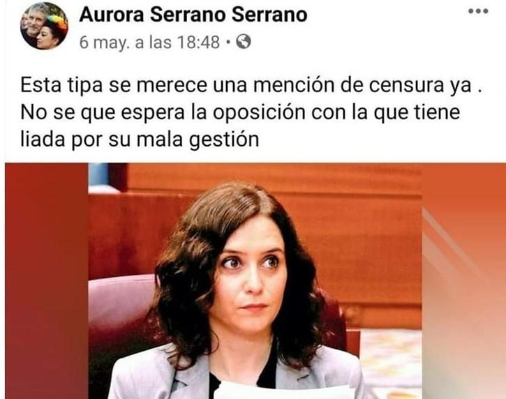 """Dice la graduada subvencionada en Igualdad de Género que hay que hacerle una """"Mención de censura"""" a Díaz Ayuso"""