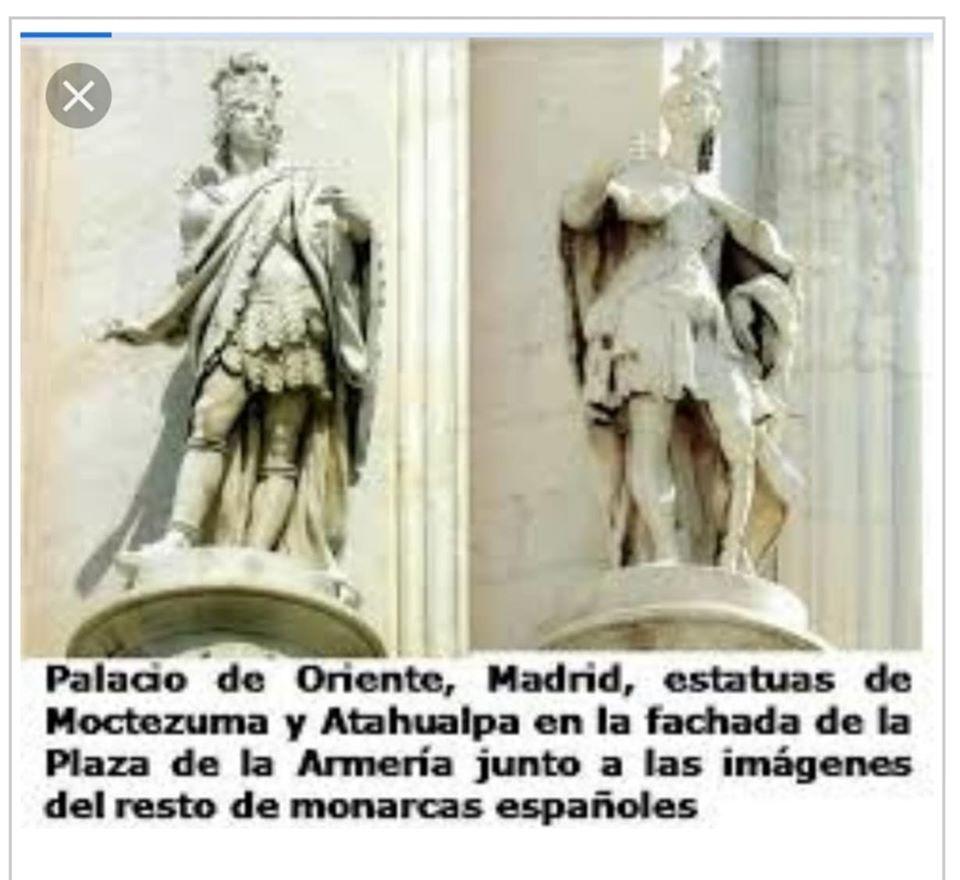La estatua de Atahualpa y la de Moctezuma