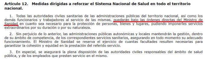 todo el personal sanitario de España pasa, con el decreto del estado de alarma, a estar a las órdenes DIRECTAS del ministro de Sanidad