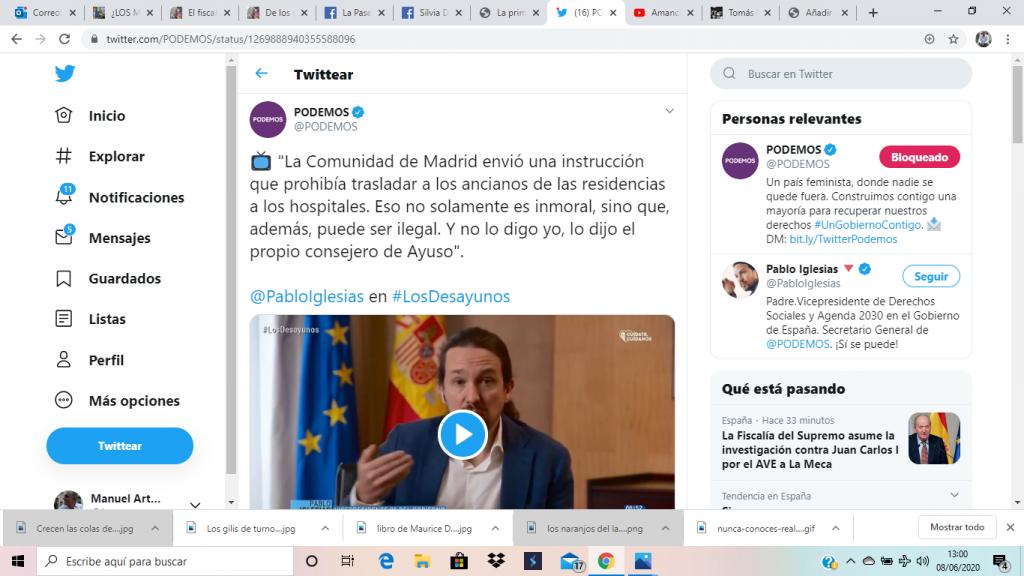 tuit de Podemos en el que comparte el vídeo de Pablo Iglesias