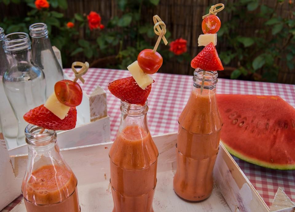 Gazpacho de sandía para refrescar el verano. Imagen y Realización de Rodolfo Arévalo.