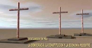 La terrible maldición de la nueva normalidad- Descansen en Paz también la Democracia, la Constitución y la economía pedestre.. Ilustración de Rodolfo Arévalo