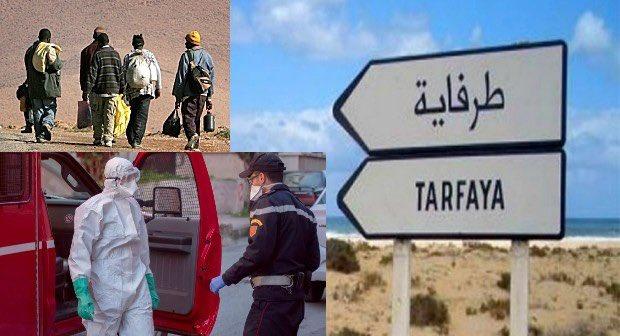 Las autoridades marroquíes detectaron ayer 37 positivos en coronavirus en una patera con 50 inmigrantes subsaharianos a bordo con destino a Canarias, interceptada en una playa de Tarfaya, a 100 kilómetros de El Aaiún (Sáhara Occidental). Imagen de Rubín Pulido