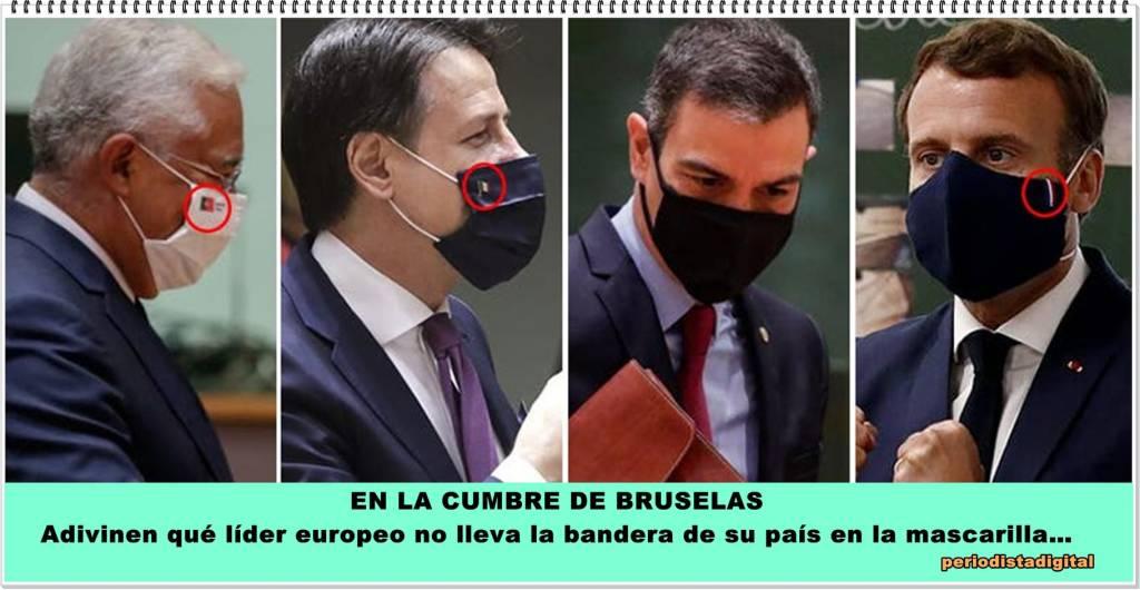 Adivinen qué líder europeo no llevaba la bandera de su país en la mascarilla