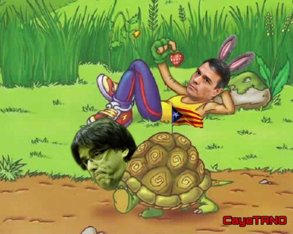 La liebre y la tortuga. Ilustración de Tano