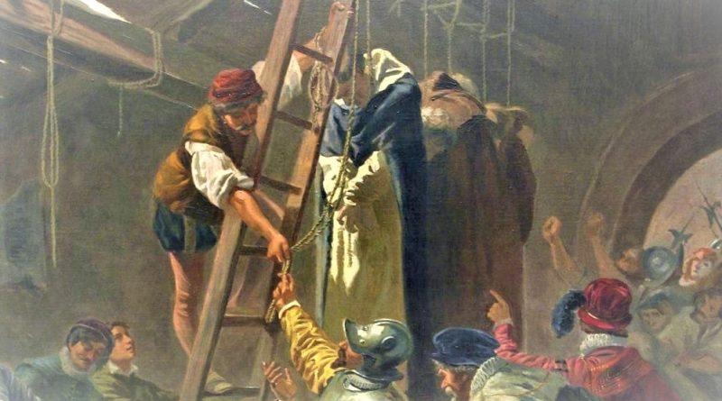 Representación de los Mártires de Gorcum en 1572. Pintura de Cesare Fracassini (1838-1868) expuesta en el Vaticano