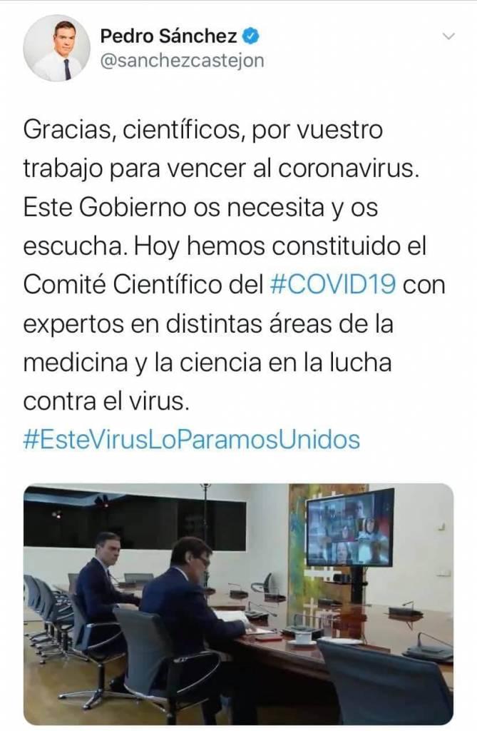 tuit de Pedro Sánchez el mentiroso compulsivo sobre el falso comité de expertos