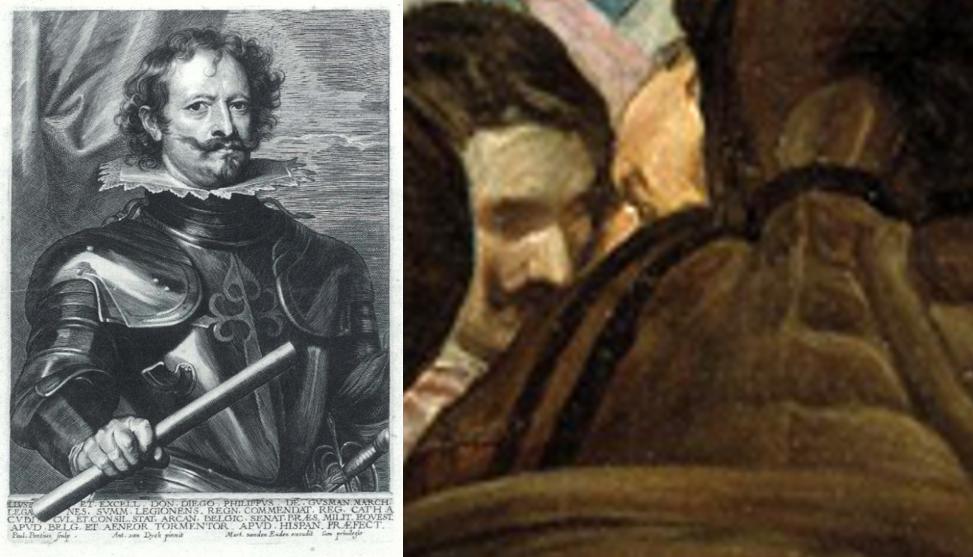 A la izquierda con su característico y extendido bigote, el Marqués de Leganés
