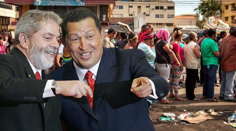Venezuela fue exprimida para alimentar el socialismo continental armado en el Foro de Sao Paulo con Lula y Fidel Castro a la cabeza. Fotomontaje de PanAm Post.
