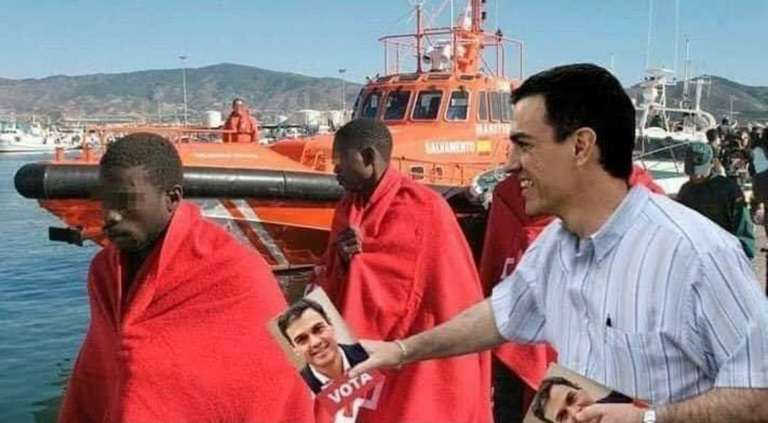 Sánchez ya tiene su propia crisis migratoria para manipular más y mejor a la opinión pública. Ilustración difundida en las redes sociales.