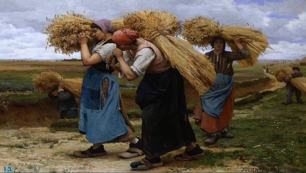 Los segadores de hoz y de España. Obra de Julien Dupré,