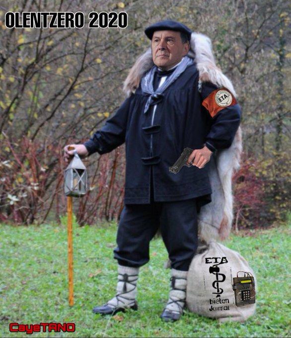 Visitar y aprender de los belenes o sufrir con el olentzero. El Papa Noel Vasco 2020, niños, las cartas en euskera o.... Ilustración de Tano.