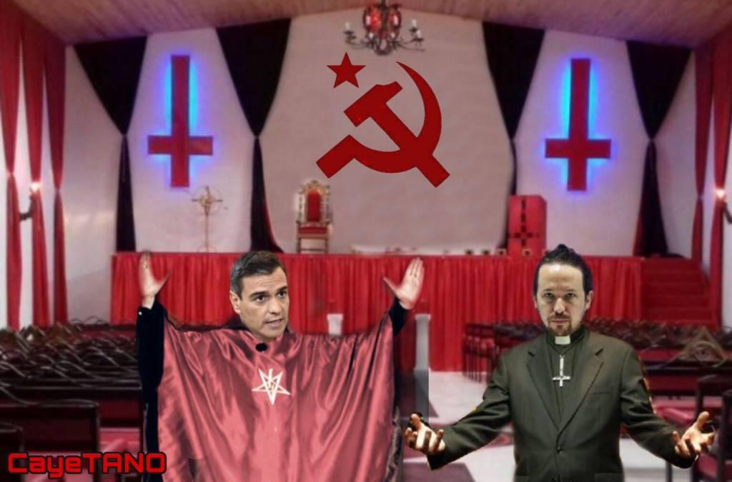 Dos falsos Mesías, el de las orgías y el de las mentiras, gobiernan España. Ilustración de Tano