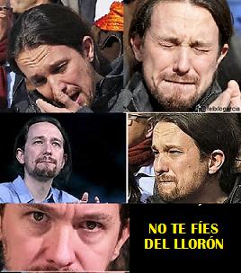No te fíes del llorón. Ilustración y tuit de Félix López García