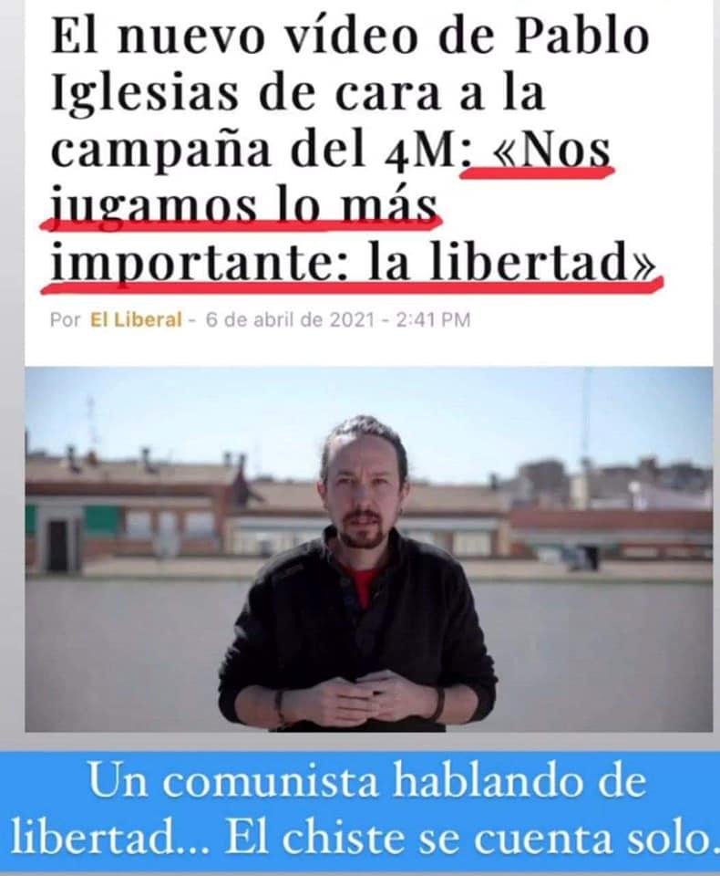 Pablo Iglesias en campaña del 4M dice que nos jugamos la libertad