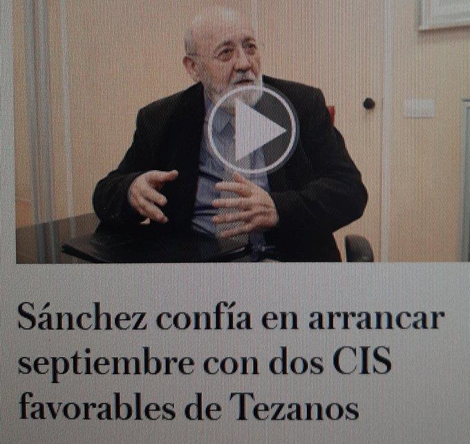 El abuelete Tezanillos ya tiene los datos de las encuestas de septiembre. Tuit de Deadwood