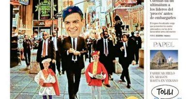 La Portada de Linda Galmor: Sánchez, en modo Príncipe de Zamunda, paseando con su séquito por Nueva York