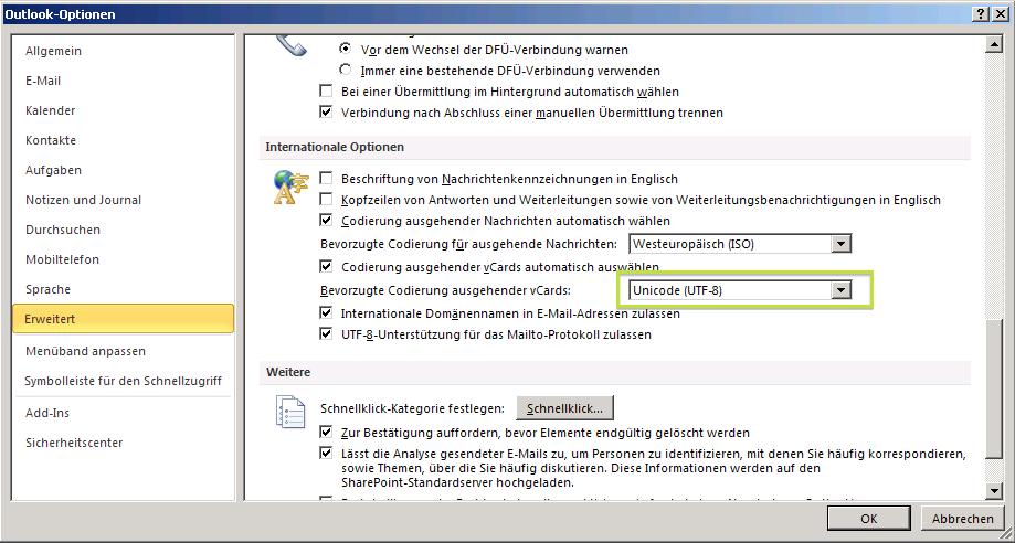 Fehler In Der Zeichenkodierung Von Outlook Visitenkarten