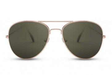 Gouden Pilotenbril Met Groene Glazen