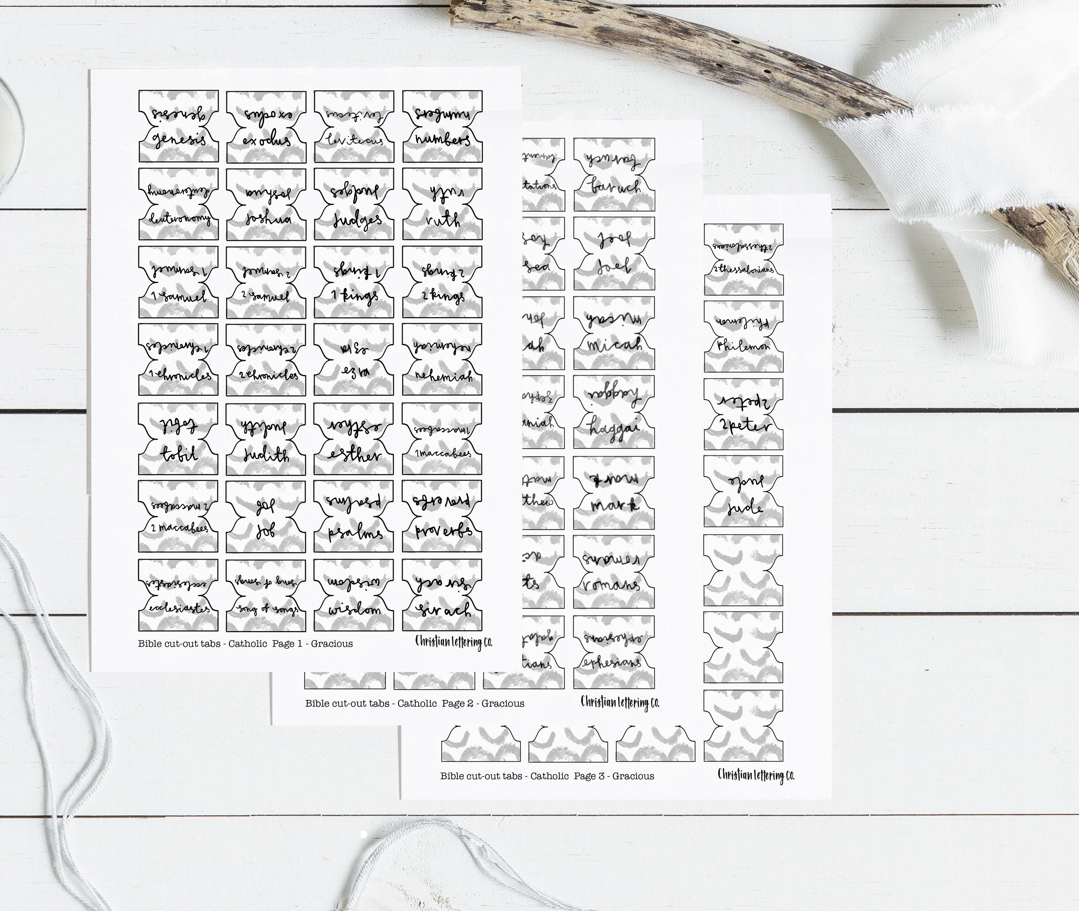 photo about Printable Tabs identified as Catholic Tabs - Gracious Bible Tabs - PRINTABLE PDF