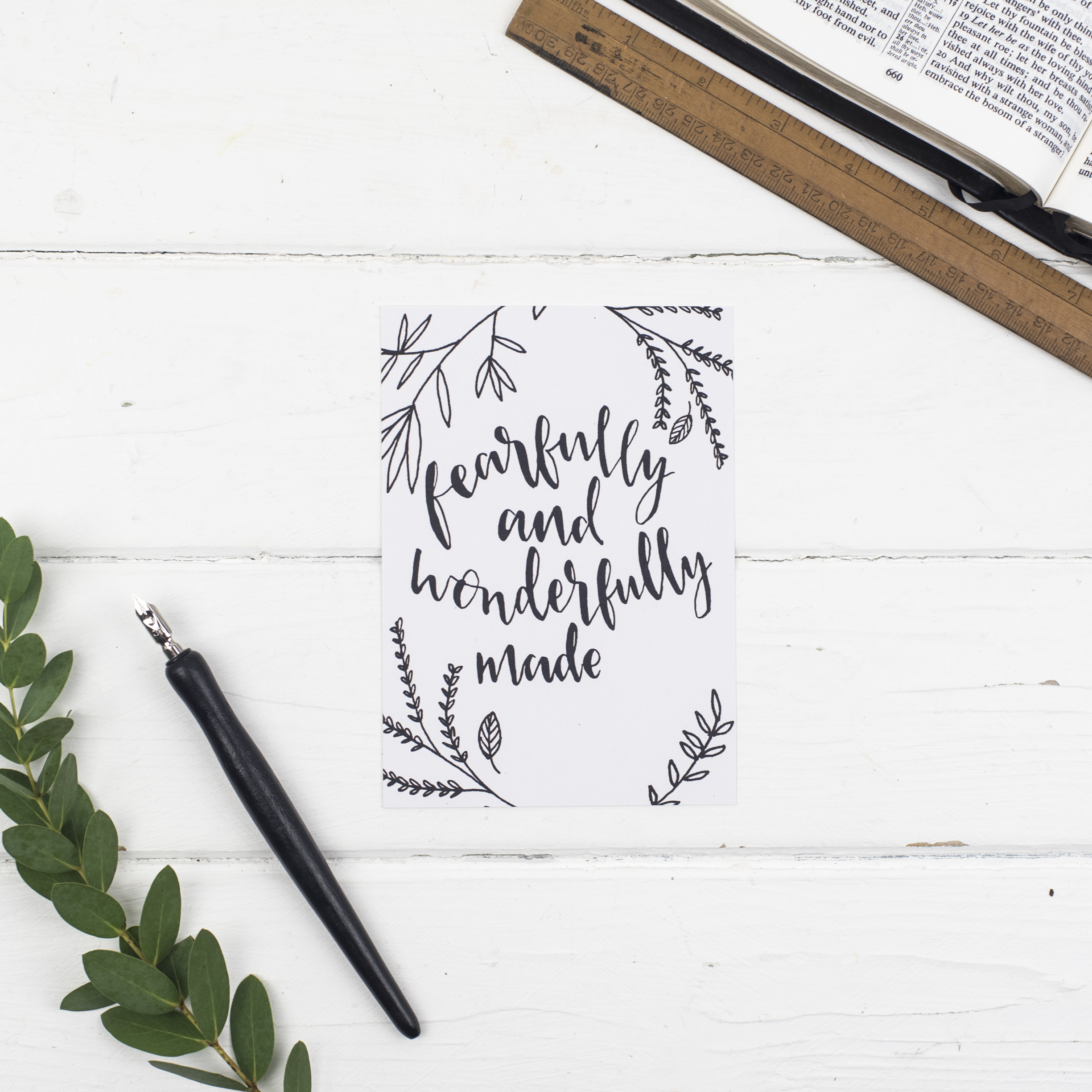 Fearfully and wonderfully made postcard psalm cheerfully given