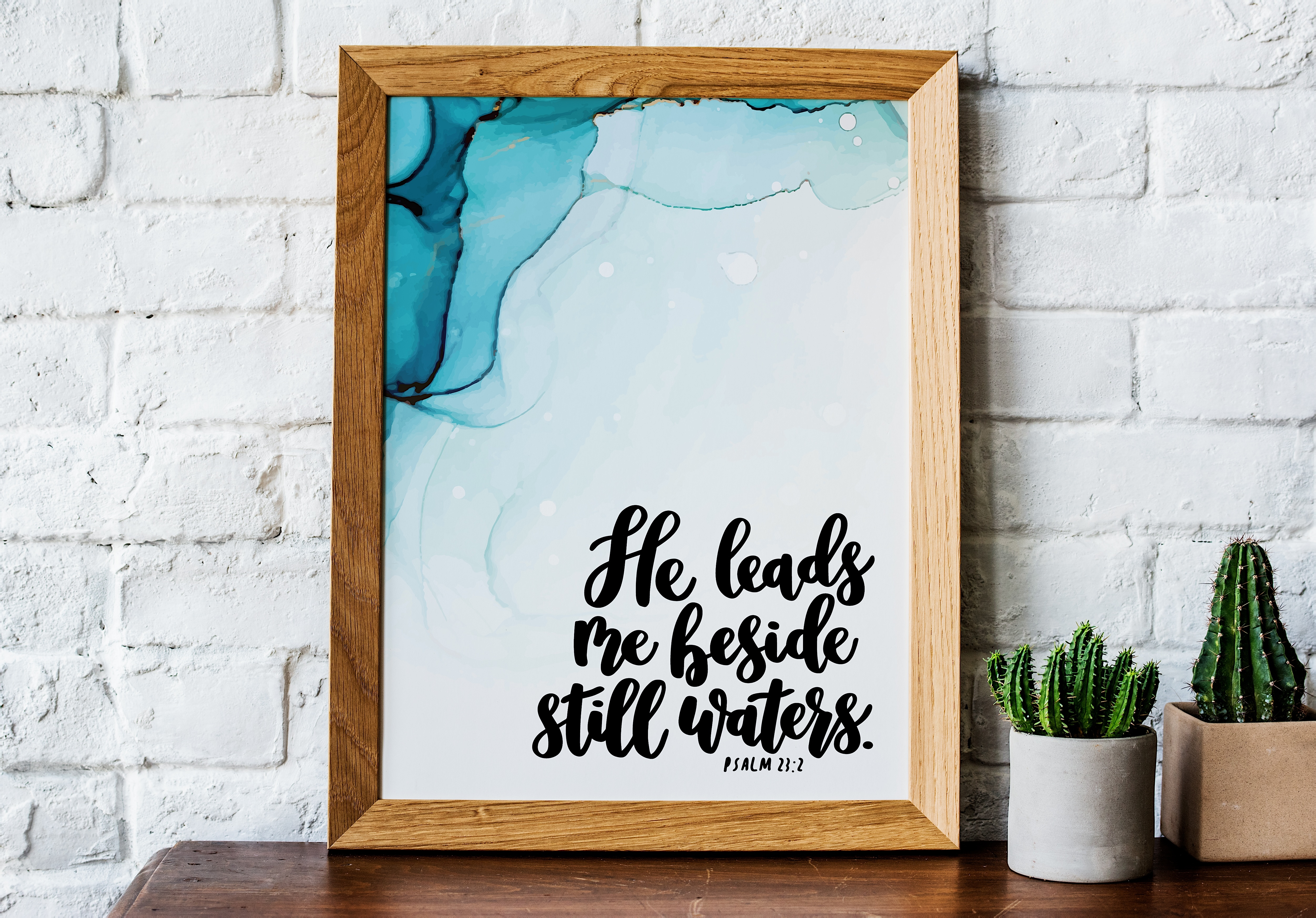 Bible Verse Beside Still Waters Psalm 23 Watercolor Print with hand lettering