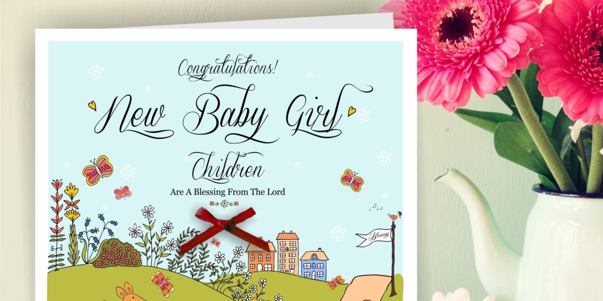 handmade new baby girl greetings card cheerfully given