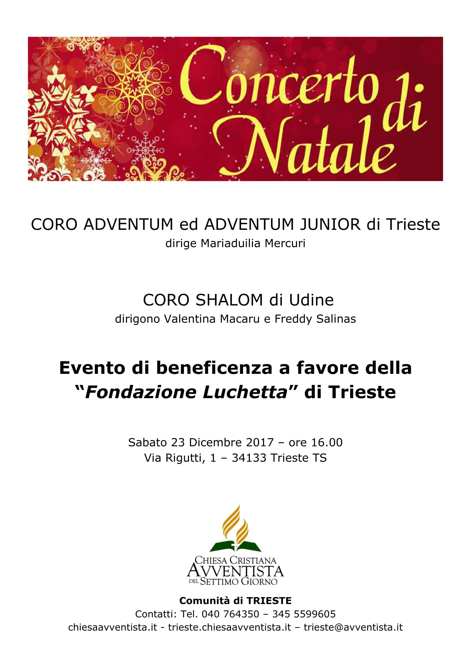 Trieste. Concerto natalizio di beneficenza