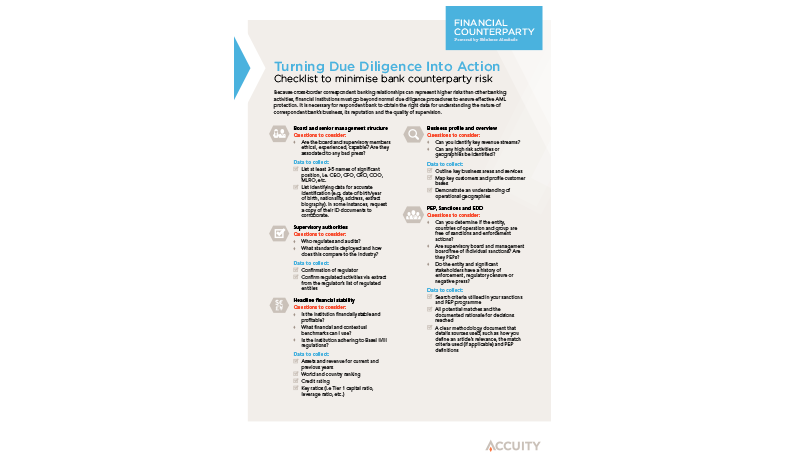 Due Diligence Checklist - Accuity