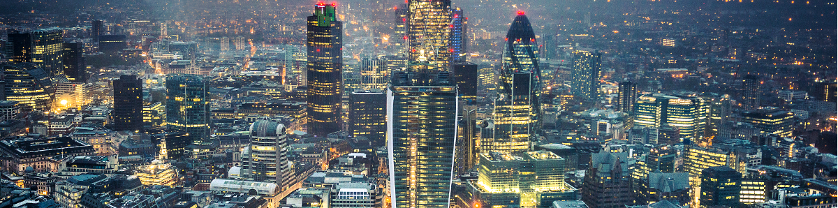 London Skyline Aerial View At Night