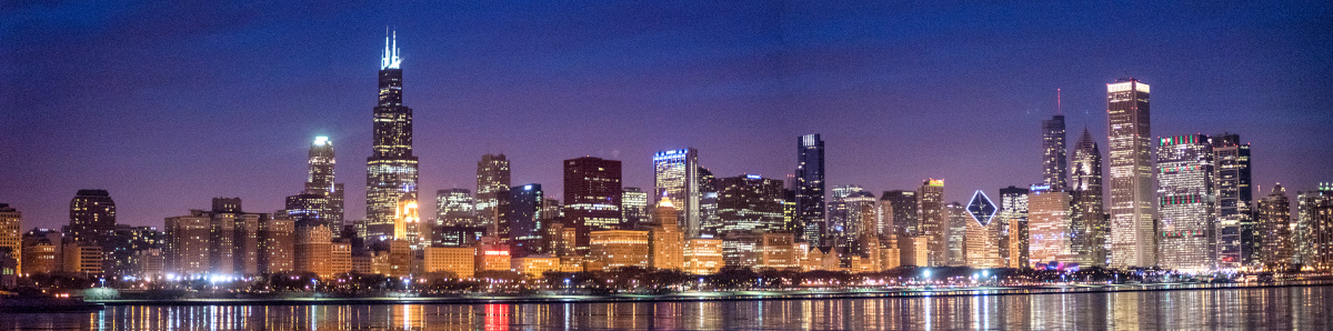 Panoramic view of Chicago's skyline at the end of the blue hour in winter