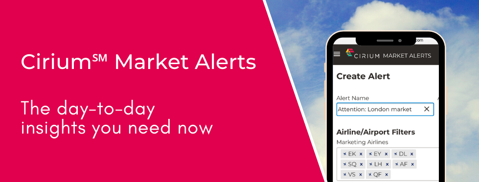 Get insights you need to your inbox with Cirium Market Alerts