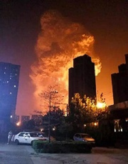 Warehouse fire in Tianjin, China - 12 Aug 2015