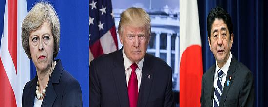 May, Trump, Abe