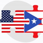 USA and Puerto Rico Flags in puzzle
