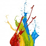 Colored paint splashes on white background