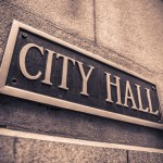 City Hall brass sign