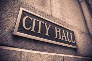 City Hall brass sign