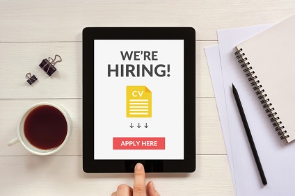 We are hiring apply now concept on tablet screen