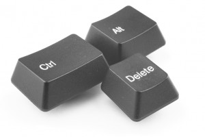 The control alt delete buttons from a keyboard