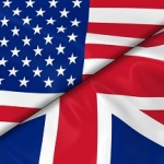 Flags of the USA and the UK Divided Diagonally