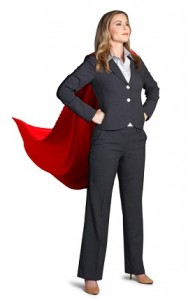 Superhero Businesswoman Isolated On White Background
