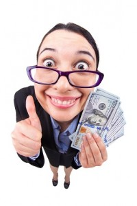 Fisheye business woman happy successful with wad of money