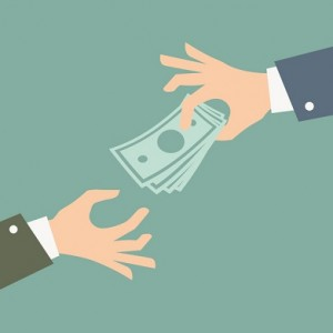 Hand giving money. Vector Illustration.
