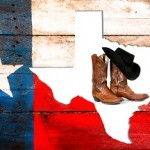 Texas flag made of old wooden boards. Rustic. State outline.