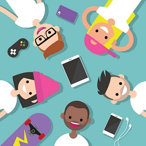 Top view of the group of millennials lying on the floor surrounded by devices / flat editable vector illustration, clip art
